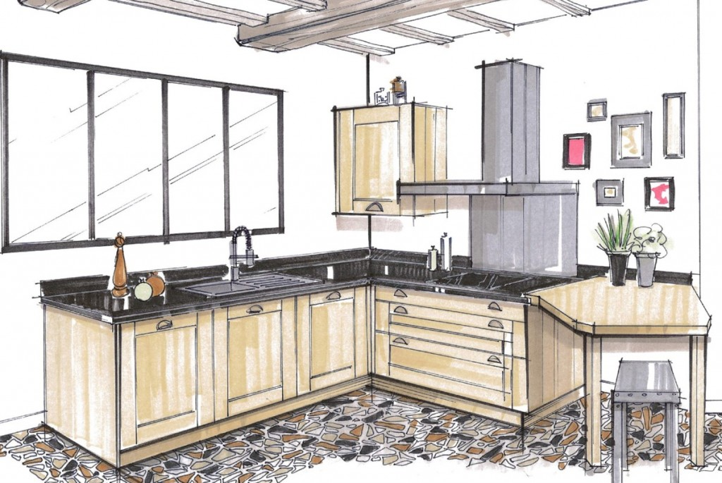 Cuisines et salles de bains atelier lebouvier for Perspective cuisine dessin